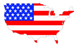 Continental USA. Outline of continental USA with American flag Royalty Free Stock Images