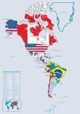 Continentale het landvlaggen en kaart van Amerika Stock Foto