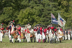 Continentals on the march. In re-enactment of Attack on Redoubts 9 & 10, where the major infantry action of the siege of Yorktown took place. General Washington Royalty Free Stock Photography