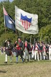 Continentals on the march with American Flags Royalty Free Stock Photos