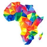Continente astratto dell'Africa dai triangoli Stile di origami illustrazione vettoriale