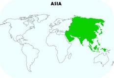 Continente de Ásia no mapa do mundo Imagens de Stock