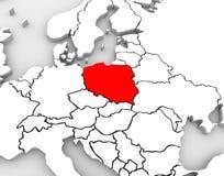 Continente dell'estratto 3D Europa della mappa della Polonia Immagini Stock