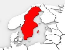 Continente dell'Europa settentrionale illustrato 3d della mappa del paese della Svezia Immagini Stock Libere da Diritti