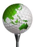 Continente do verde de Austrália e de Ásia na bola de golfe Fotografia de Stock Royalty Free