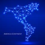 Continente poligonal abstrato de América do mapa Imagens de Stock