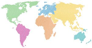 Continenten van de wereld, radiaal puntpatroon Stock Afbeeldingen