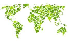 Continenten van groene bladeren Royalty-vrije Stock Afbeeldingen