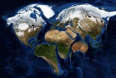 Continentes da terra na forma de um coração imagens de stock