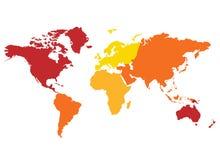 Continentes de la correspondencia de mundo Foto de archivo