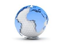 Continentes de la pelota de golf y del mundo Imágenes de archivo libres de regalías