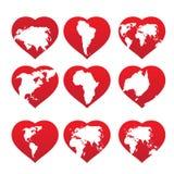 Continentes dentro do frame vermelho do coração Foto de Stock