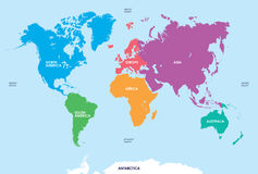 Continentes do mundo, mapa Fotografia de Stock Royalty Free
