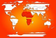Continenti bianchi affettati della mappa di mondo con l'Africa calda rossa Fotografia Stock Libera da Diritti