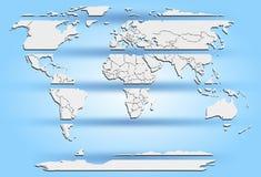 Continenti bianchi affettati della mappa di mondo sul blu Fotografia Stock Libera da Diritti