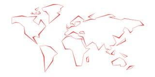 Continenti di contorno Programma di mondo Riga rossa mascherina Illustrazione di vettore L'America, Europa, l'Oceano Atlantico, A illustrazione di stock
