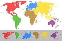 Continenti variopinti punteggiati della mappa di mondo Immagini Stock Libere da Diritti