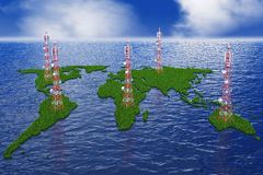 Continents with antennas Royalty Free Stock Photography