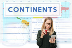 Continents Coordinates Exploration Geological Cartography Concep Stock Image