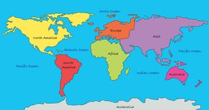 Continents de carte du monde Photos stock