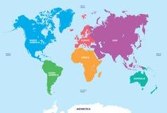 Continents du monde, carte Photographie stock libre de droits