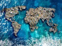 Free Continents Earth Are Made Up Of Garbage, Surrounded By Ocean Water. Concept Environmental Pollution With Plastic And Stock Photo - 150921660