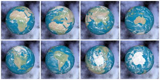 Continents on the earth - 3D render Royalty Free Stock Photos