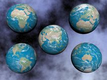 Continents on the earth - 3D render Royalty Free Stock Photo