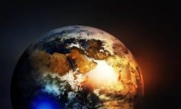 Continents entre l'Asie et l'Europe et de l'Afrique sur le globe de la terre Photos stock