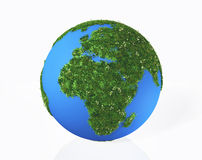 The continents Europe and Africa are covered by grass and flower Stock Photography