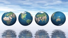 Continents on four earth Royalty Free Stock Photo
