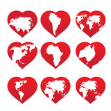 Continents inside red heart frame Stock Photo