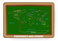 Continents and ocean drawn on a blackboard Royalty Free Stock Image
