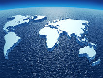 Continents on ocean sphere stock illustration