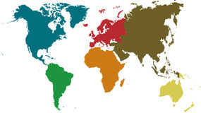 Continents presented with different colors. Stock Images