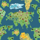 Continents seamless pattern. World map is endless ornament. Geog Stock Image
