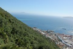 Continents. Seeing both the European and African continents from Gibraltar, UK stock image