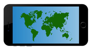 Continents World Map App on Smart Phone Royalty Free Stock Photo