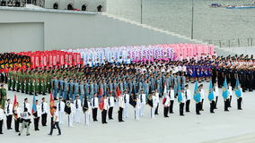 Contingents standing at attention during National Day Parade (NDP) Rehearsal 2013 Stock Photography