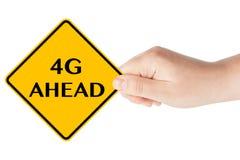 a continuación el tráfico 4G señal adentro la mano de la mujer Fotos de archivo libres de regalías