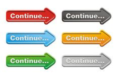 Continue - arrow buttons Royalty Free Stock Photography