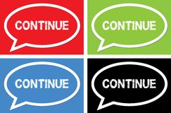 CONTINUE text, on ellipse speech bubble sign. Stock Photos