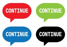 CONTINUE text, on rectangle speech bubble sign. Royalty Free Stock Images