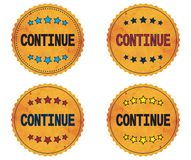 CONTINUE text, on round wavy border vintage, stamp badge. Stock Photo