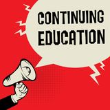 Continuing Education business concept. Megaphone Hand business concept with text Continuing Education, vector illustration Stock Photography