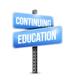 Continuing education road sign illustration design. Over white Royalty Free Stock Photos