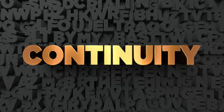 Continuity - Gold text on black background - 3D rendered royalty free stock picture Stock Image