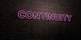 CONTINUITY -Realistic Neon Sign on Brick Wall background - 3D rendered royalty free stock image Stock Images