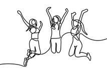 Continuo gruppo del disegno a tratteggio del salto delle ragazze Illustrazione di vettore illustrazione di stock