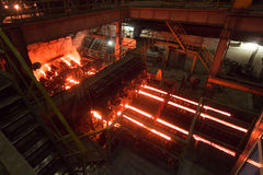 Continuous casting machine at the metallurgical plant Stock Photo